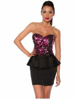 Vintage Kleid mit Pailletten pink schwarz