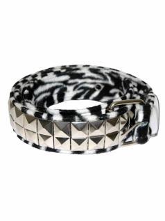 Gürtel mit Fell Pyramiden Nieten Zebra schwarz weiß