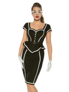Rockabilly Pin-Up Vintage-Kleid schwarz weiß mit Gürtel