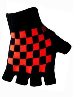 Fingerlose Handschuhe rot schwarz kariert