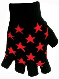 Fingerlose Handschuhe Sterne rot