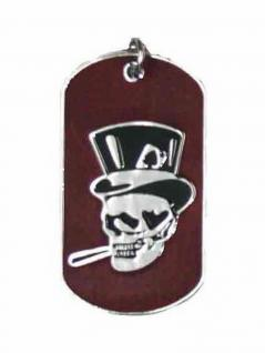 Halskette Hundemarke klein Poker Skull braun