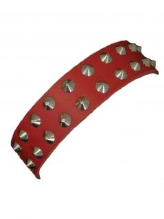 Leder Halsband Spitznieten 2 reihig