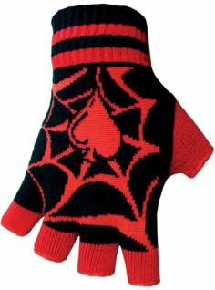 Fingerlose Handschuhe Spinnennetz rot