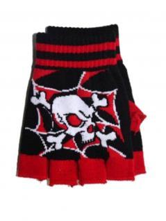 Fingerlose Handschuhe Totenkopf schwarz rot
