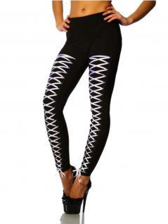 Leggings schwarz mit weißer Schnürung