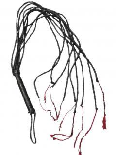 SM Leder Peitsche mit 9 Riemen schwarz
