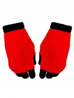 Multi Handschuhe neon rot 2 in 1