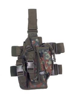 Снаряжение:Чехлы, держатели для оружия:Кобуры:Тактическая кобура, для кремления на ноге и поясе, камуфляж бундесвер...