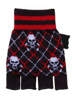 Fingerlose Handschuhe Skull schwarz rot