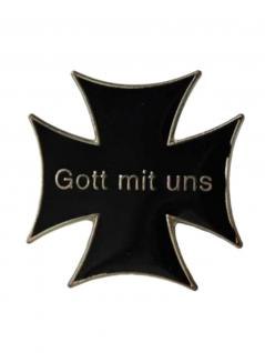 Anstecker Pin Eiserneskreuz Schwarz Gott mit uns