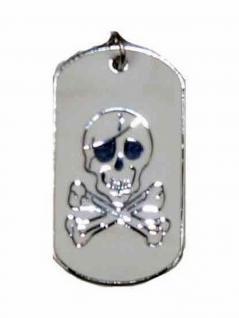 Halskette Hundemarke klein Totenkopf silber