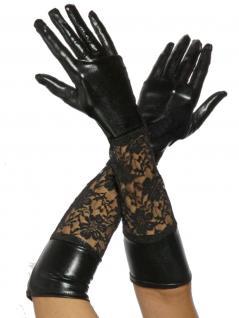 Handschuhe mit Spitze im Wetlook schwarz