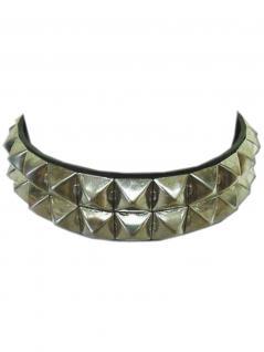 Leder Halsband Pyramidennieten 2 reihig