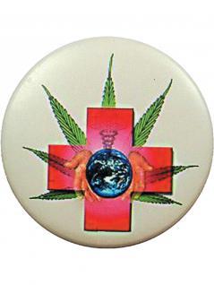 Button Hanf und Kreuz