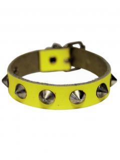 Leder Armband Spitznieten 1 reihig neongelb