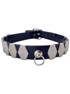 Leder Choker Halsband 6 eckige Nieten und Ring