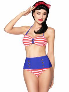 Rockabilly Vintage Bandeau Bikini blau weiß rot