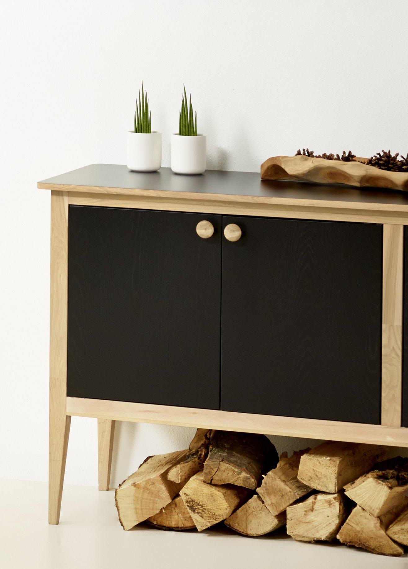 massiv holz sideboard mayflower kommode schrank eiche highboard schwarz kaufen bei dtg dynamic. Black Bedroom Furniture Sets. Home Design Ideas