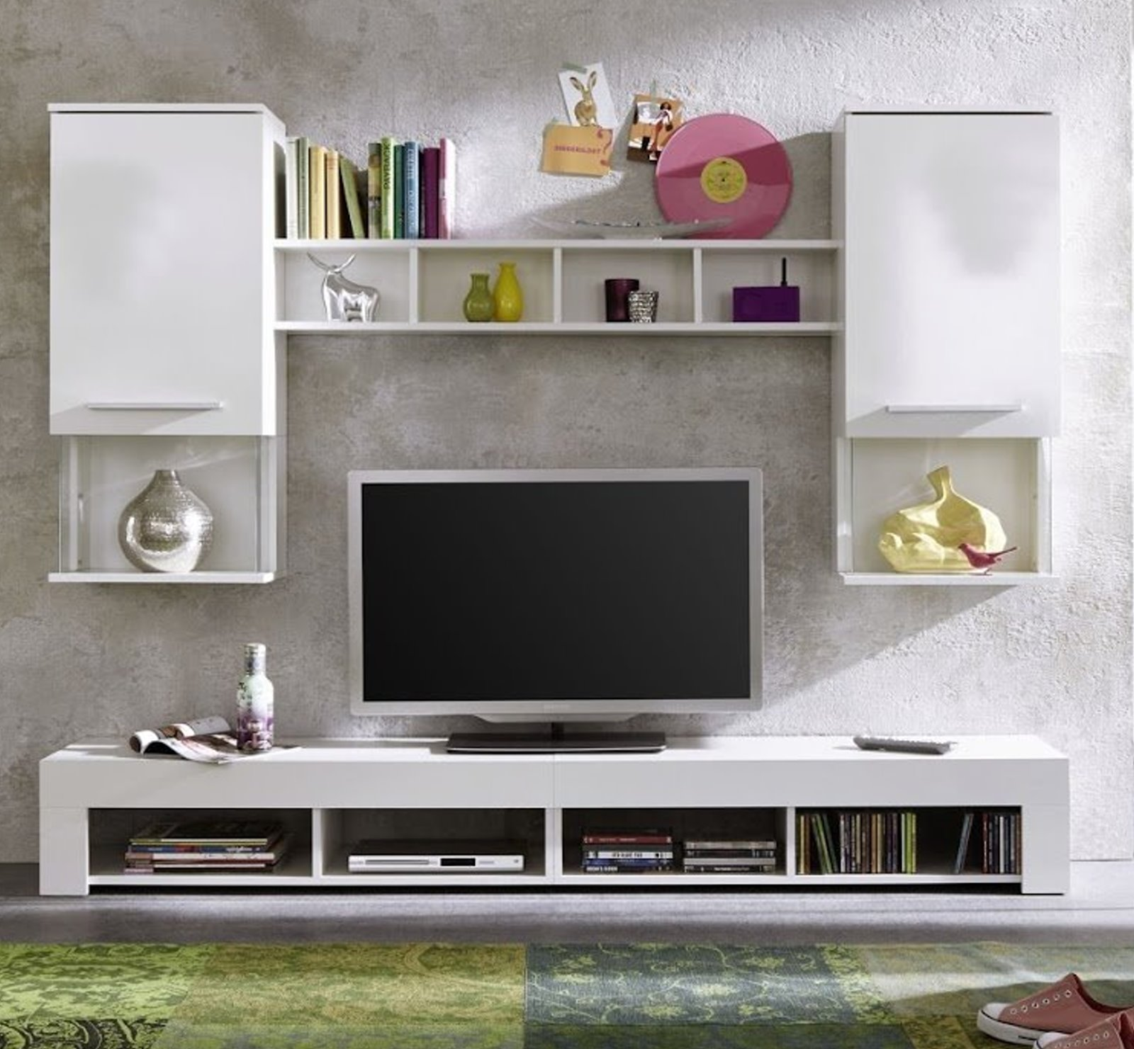 wohnwand anbauwand wohnzimmer tv schrank schrankwand wohnwand hochglanz wei kaufen bei dtg. Black Bedroom Furniture Sets. Home Design Ideas