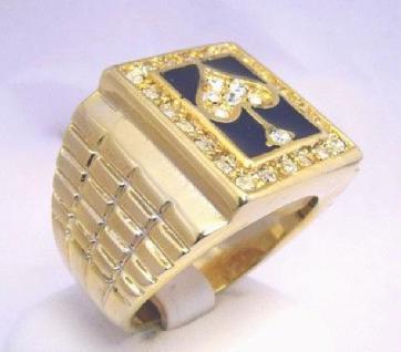 Herren / Damen 14K 585 Gold plattiert Poker Ring