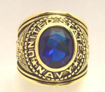 Herren / Damen 14K 585 Gold plattiert US Navy Ring