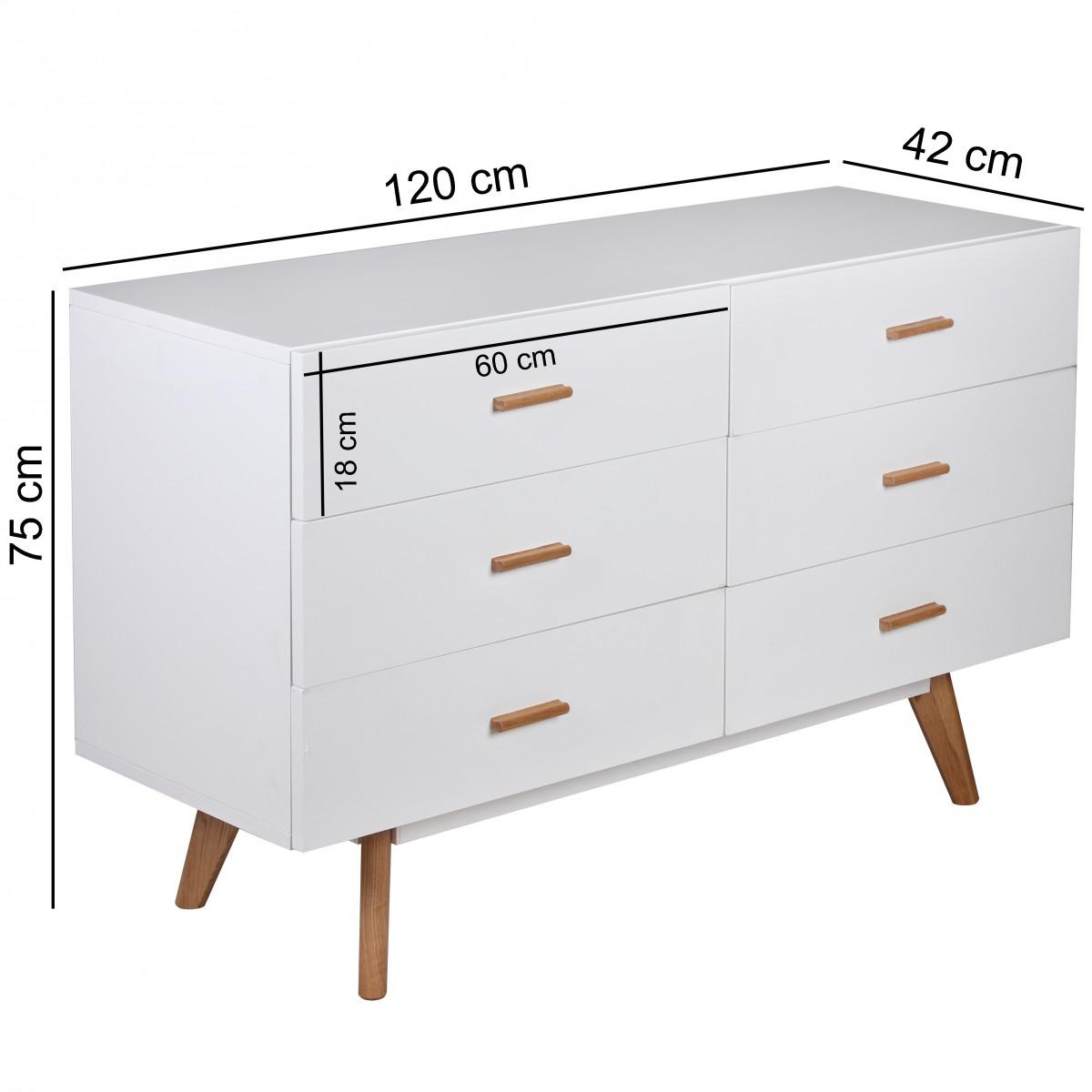 wohnling retro sideboard scanio kommode skandinavisch mit 6 schubladen mdf wei matt f e eiche. Black Bedroom Furniture Sets. Home Design Ideas