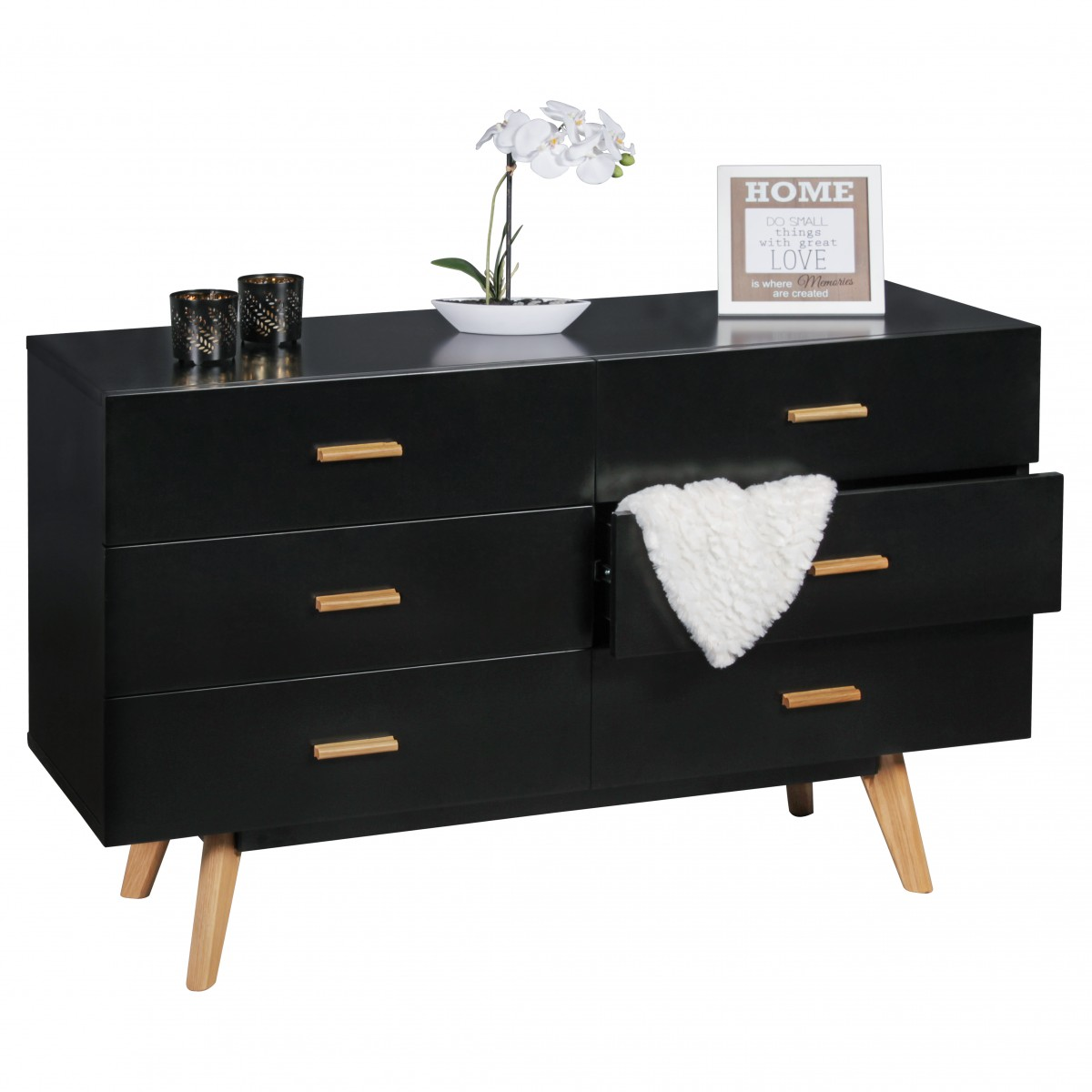 kommode schwarz g nstig. Black Bedroom Furniture Sets. Home Design Ideas