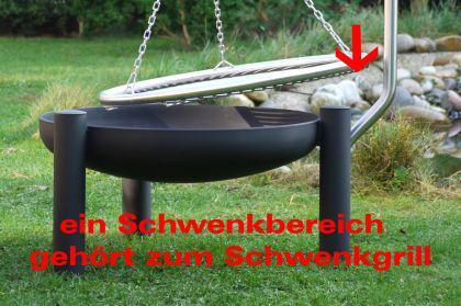 LIBATHERM Schwenkgrill, 0 Euro Versandkosten, Feuerschale 70 cm Durchm., Edelstahl-Grillrost 60 cm durchm., Edelstahl Grillgalgen mit Beleuchtung - Vorschau 4