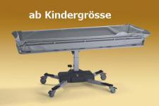 Kindergrösse 160 cm optimierte ÜBERFAHRBARKEIT hydraulisch Duschwagen Duschliege