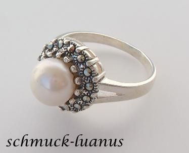 Silberring Perle Markasit