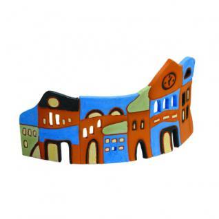 Häuserzeile - handbemalte Keramik - 22 cm