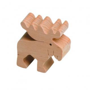 Holzfigure Elch - klein - Massivholz - 5, 5 x 5, 5 x 2 cm