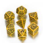 Steampunk Würfel-Set - 7 Stück - gelb und schwarz