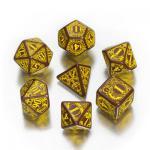 Steampunk Würfel-Set - 7 Stück - braun und gelb