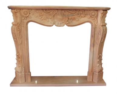 baroque fire place sand brown marble camino stilo barocco 150x120cm I D heb 06