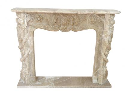 Edel marmoriert klassische KAMIN Einfassung 150 x 120 cm Marmor massiv