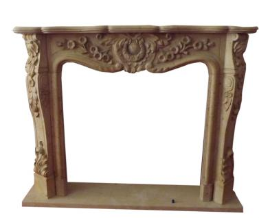 Barocker Stil KAMIN Einfassung 1,5x1,2m edler Marmor massiv Farbe ocker D Heb 15
