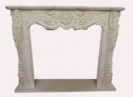 TOP Preisangebot Einfassung Marmorkamin 1,5x1,2 m Marmor massiv Farbe altweiß