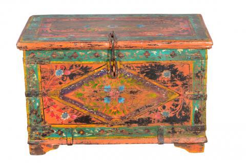 Antike kleine indische Truhe Box handbemalt - Vorschau