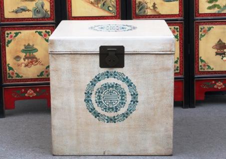 China Würfel Truhe Box kubisch weiße Oberfläche und Blumenmotiv - Vorschau