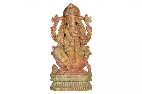 Antikes Indien: hölzerne Statue des Elefantengott Ganesha traumhaft schön - Vorschau