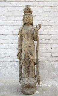 China 1930 prächtige hölzerne Statue Figur der antiken Göttin Guanyin