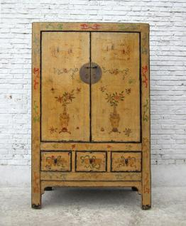 CHINA Shanxi 1860 magnificent painted great cabinet elm wood armadio I D SD.D.48