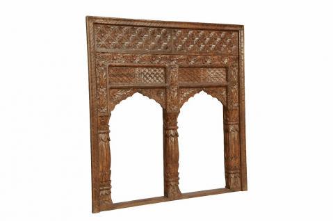 INDIA Mughal Empire Stil Doppel Bögen Fensterrahmen geschnitztes Holz D ED-11-27