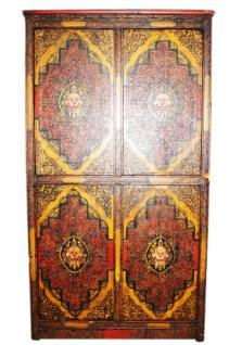 China Tibet 1910 Hoher Schrank Doppeltüren klassisches Dekor