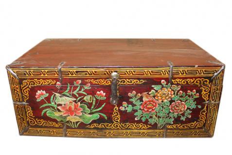 China 1930 flache Truhe Box Vollholz farbenfrohe typische Bemalung