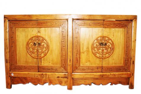 Breite China Kommode aus Naturholz 1910 Kredenz Anrichte