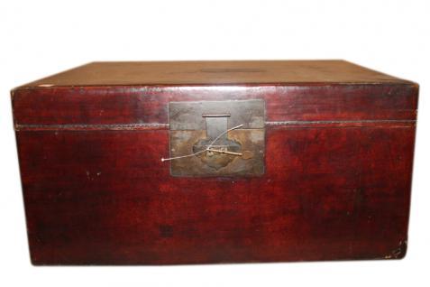 China um 1940 dunkelbraune Truhe Box in antiker Leder Optik