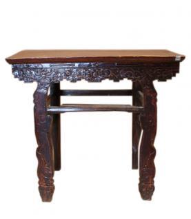 China Kolonialstil um 1900 hoher Tisch Anrichte Beistelltisch dunkles Ulmenholz - Vorschau